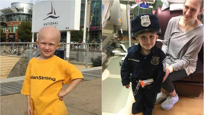 """Sgt. Rollin"" Nolan Scully was diagnosed with a rare soft-tissue cancer at 3 years old, and he died Feb. 4, a little more than a year later. (Source: Family/NolanStrong/Facebook)"
