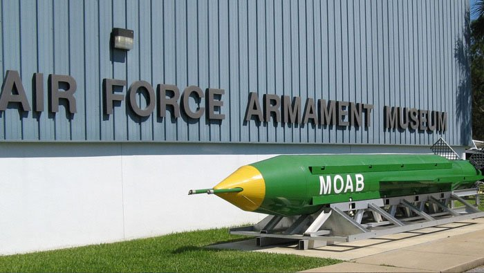 Pictured is the MOAB glide bomb displayed at the USAF Armaments Museum at Eglin Air Force Base, FL. (Source: Greg Goebel/Flickr)