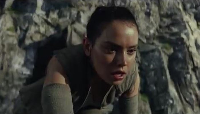 Rey is out of breath. We do not know why. (Source: Star Wars/YouTube)