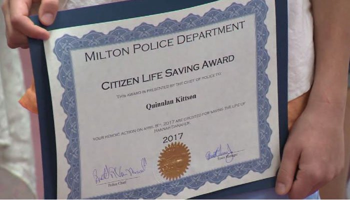 The 10-year-old was honored Monday for saving his friend's life. (Source: WCAX/CNN)