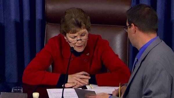 Sen. Jeanne Shaheen, D-NH, preside over the roll call vote on Thursday. (Source: CNN)