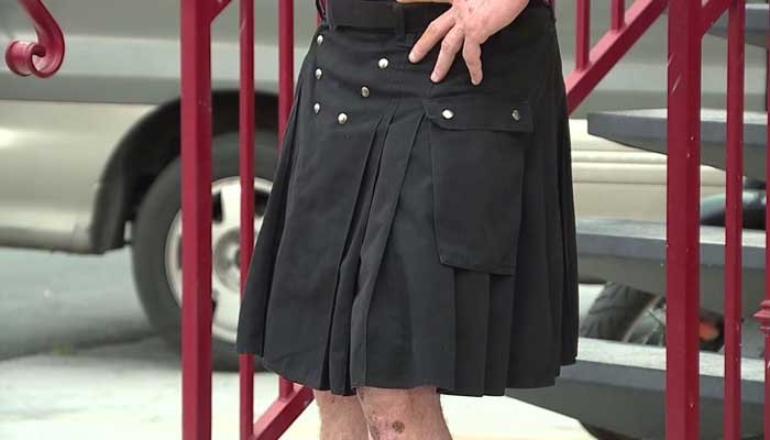 Former NFL defensive lineman Mike Withycombe threw on his kilt in the middle of the night to go out and save a mom and daughter from a predator. (Source: KTNV/CNN/Witness photos)