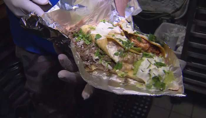 Taco Pizza  from Tony Baloney's lures hundreds of fans to Hoboken, NJ, for Taco Tuesday. (Source: WPIX/CNN)
