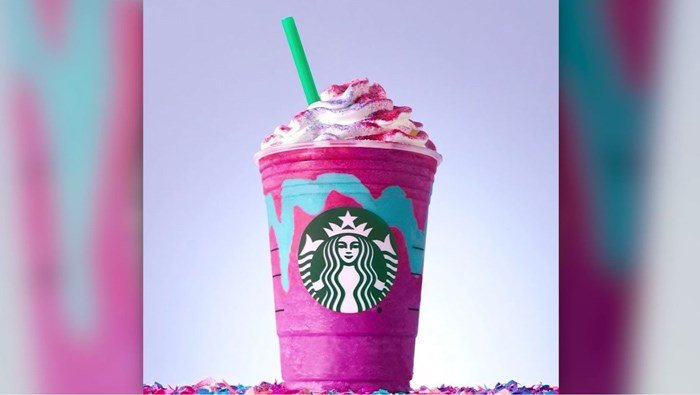 The drink starts purple with blue swirls and tastes sweet and fruity. Starbucks said once you stir it, the drink becomes pink, tangy and tart. (Source: Starbucks/CNN)