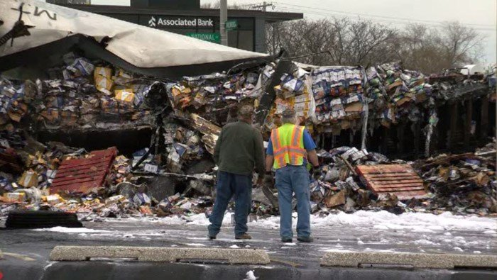 The truck was packed with Kraft and Velveeta cheese. With some of it still in its bag, people wondered if they could bring it home. (Source: WTMJ/CNN)