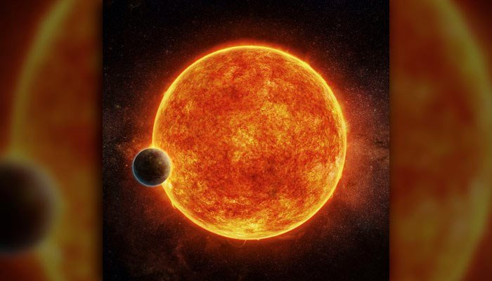 Artist's conception of the newly discovered exoplanet orbiting a red dwarf 39 light years from home. (Source: AP/M. Weiss)