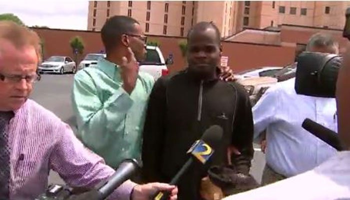 Suspect Basil Eleby had no comment on Wednesday in Atlanta. (Source: CNN/WSB)