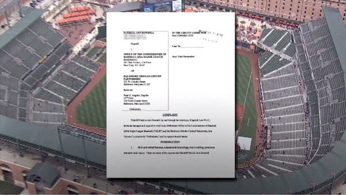 The attorney for Patricia Dowdell said she was hit by a flying bat while sitting in the stands at Camden Yards. The bat had slipped out of the hands of Orioles slugger Chris Davis. (Source: WJZ/CNN)