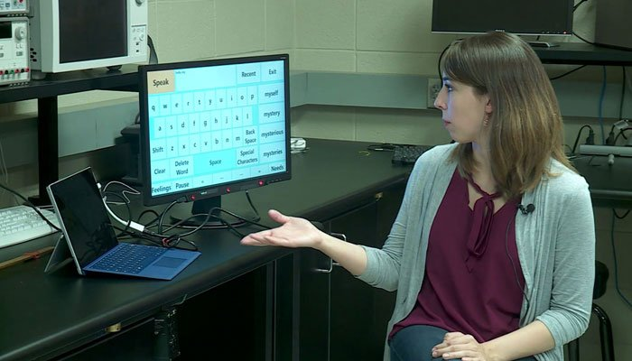 A group of students developed a speech device, named VisuALS, to help a man with ALS who lost his ability to speak. (Source: KFOR/CNN)