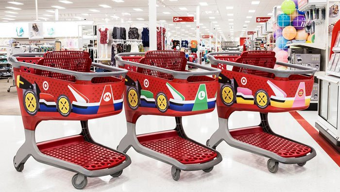 In anticipation of 'Mario Kart 8,' shopping carts at 650 Target locations have been decorated with Mario, Luigi and Princess Peach. (Source: Target)