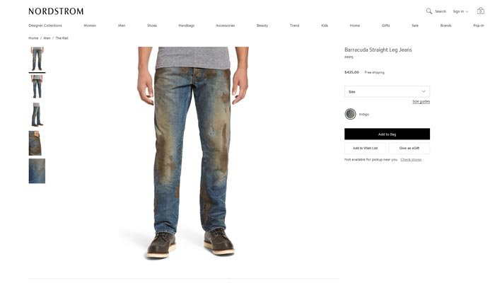 The Nordstrom website features a pair of jeans covered in fake mud that you can buy for the low price of $425. (Source: Nordstrom)