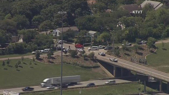 Aerial view of the active shooter area in Dallas. (Source: KTVT via CNN)