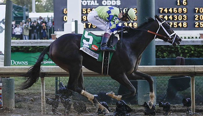 John Velazquez rides Always Dreaming to victory in the 143rd running of the Kentucky Derby horse race at Churchill Downs Saturday, May 6, 2017, in Louisville, Ky. (AP Photo/Morry Gash)