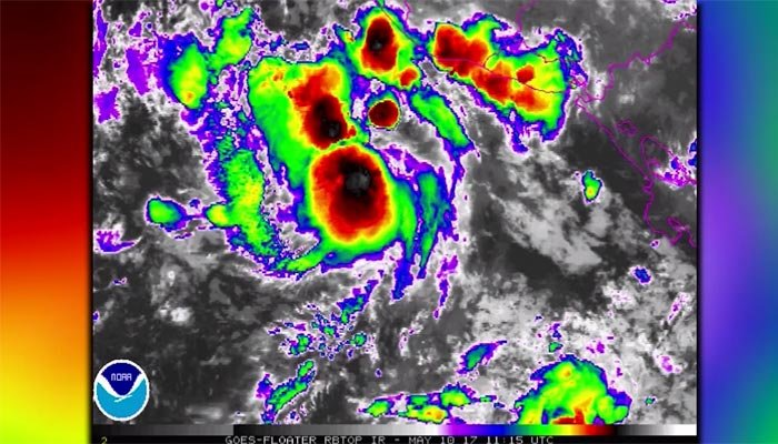 1st tropical storm of Pacific season weakens into depression