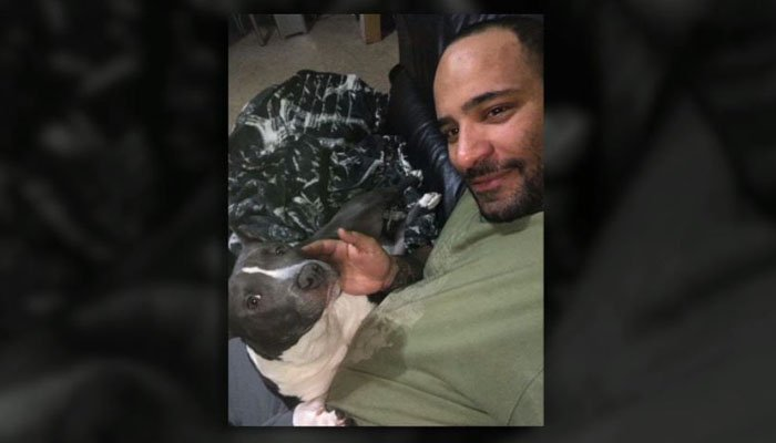 The man says his 8-month-old support dog represents a new chapter in his life. (Source: Robert Lebron/WPIX/CNN)