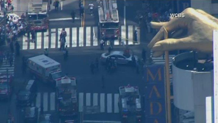 Times Square went on lockdown after a car drove through a crowd of pedestrians.(Source: WCBS/CNN)