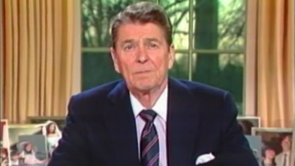 Former President Ronald Reagan speaks to the nation from the Oval Office on the evening of the explosion of the space shuttle Challenger. (Source: CNN)