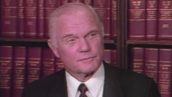 Astronaut and former Sen. John Glenn, D-OH, reacts to the Challenger explosion. (Source: CNN)