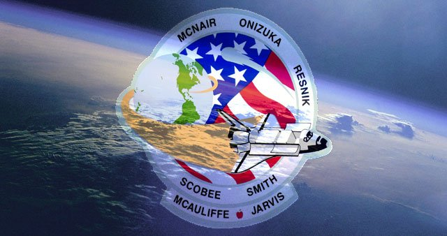 The mission patch for the lost Challenger crew included an apple within Christa McAuliffe's name to commemorate her role as the first teacher in space. (Source: RNN)