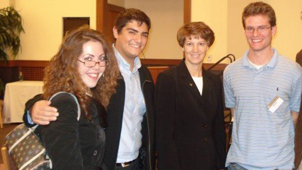 Shawna Gallagher Vega took students in her Boston College leadership program to meet America's first female space commander, Eileen Collins, in 2007. (Source: Vega)