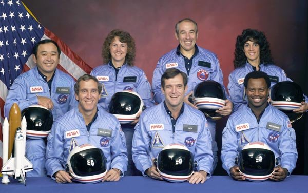 The seven-member Challenger crew included the first civilian to fly with NASA. (Source: NASA)