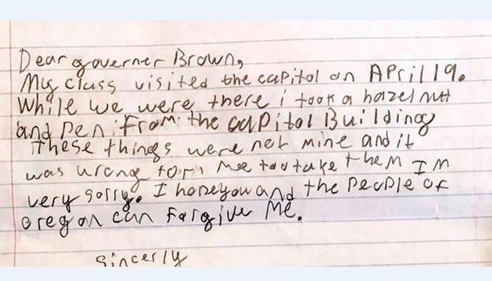 This photo provided by the Office of Oregon Gov. Kate Brown shows a portion of an apology letter from a fourth-grader to the governor.  (Source: Saerom England/Office of Oregon Governor Kate Brown via AP)