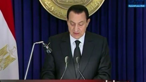 Egyptian President Hosni Mubarak asks his government to resign while he remains in power. (Source: CNN)
