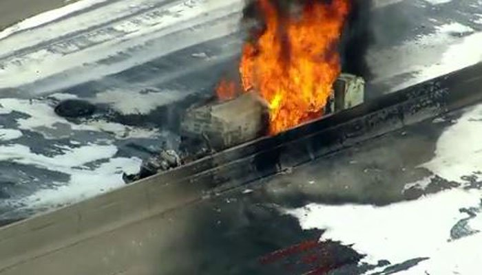 Tanker truck fire shuts down I-25 near Denver