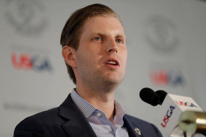 Eric Trump speaks during a media event at Trump National Golf Club, which is scheduled to host the U.S. Women's Open Championship, Wednesday, May 24, 2017, in Bedminster, N.J. (AP Photo/Julio Cortez)