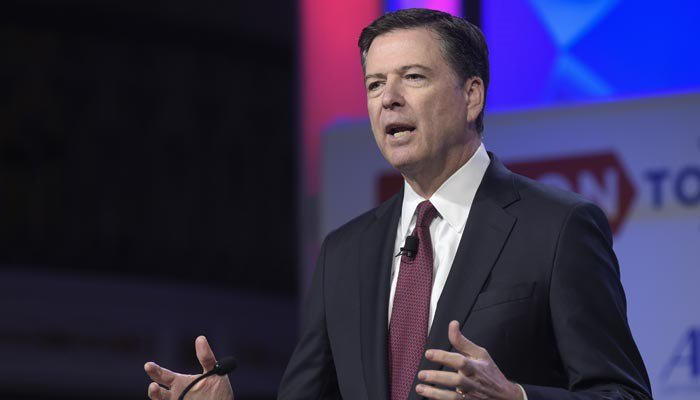 "In this photo taken May 8, 2017, FBI Director James Comey speaks in Washington. President Donald Trump has fired Comey. In a statement released Tuesday, May 9, Trump says Comey's firing ""will mark a new beginning"" for the FBI. (AP Photo/Susan Walsh, File)"