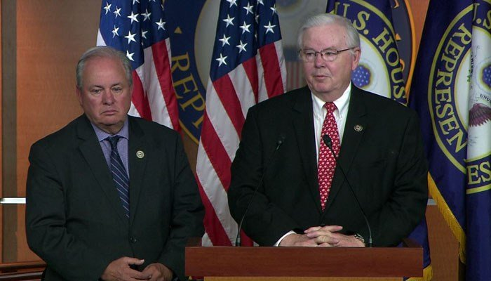 Rep. Mike Doyle, D-PA, and Rep. Joe Barton, R-TX, announce the baseball game will be played on Thursday. (Source: CNN)