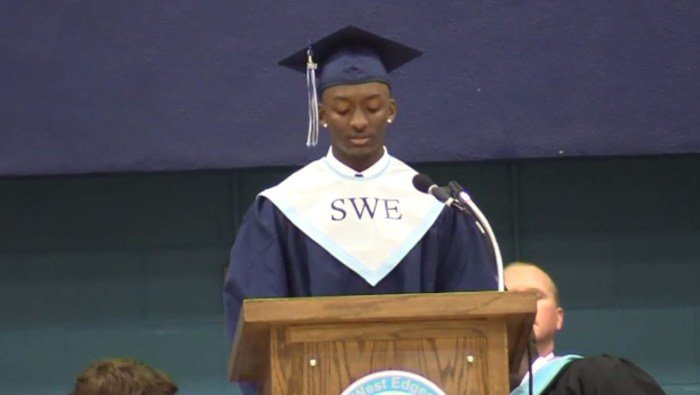 For senior class president Marvin Wright, it's a day he will never forget. He wrote and read his own speech instead of the one the school wrote for him and was denied his diploma. (Source: Jokita Wright/WRAL/CNN)