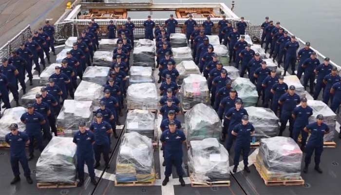U. S. Coast Guard personnel offloaded roughly 18 tons of cocaine in San Diego Thursday. (Source: US Coast Guard/CNN)
