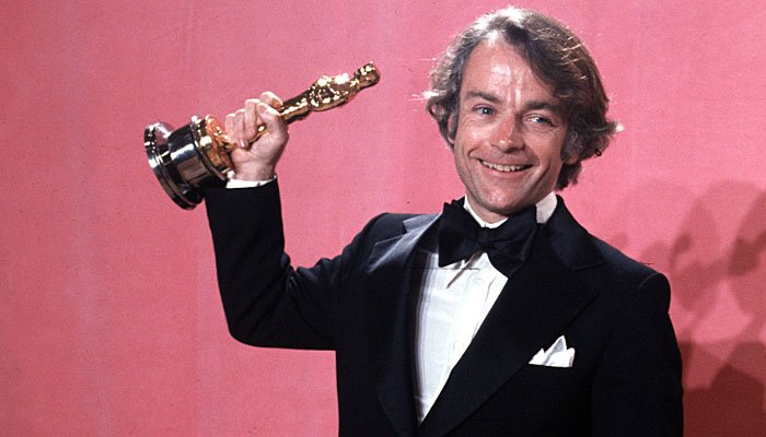 John Avildsen shows off the Oscar he won for best director for his motion picture Rocky at the annual Academy Awards in Los Angeles, CA, on March 28, 1977. (AP Photo)