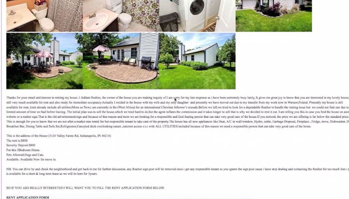 The family was shocked to see their photos, many inside their house, along with a listing where the so-called owner claimed to be in West Africa on a church mission, in need of a renter. (Source: WXIN/Craigslist/CNN)