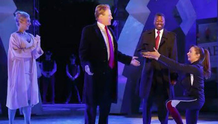 An actor plays a Donald Trump-lookalike in a play in New York City. (Source: The Public Theater/CNN)