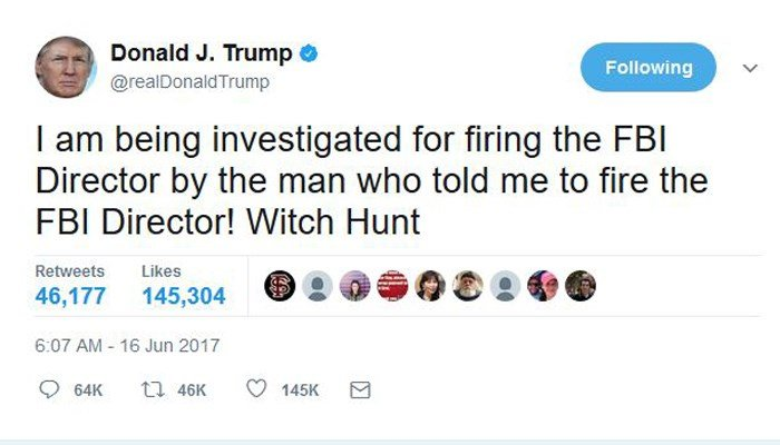Trump tweets his frustration with Russia investigation