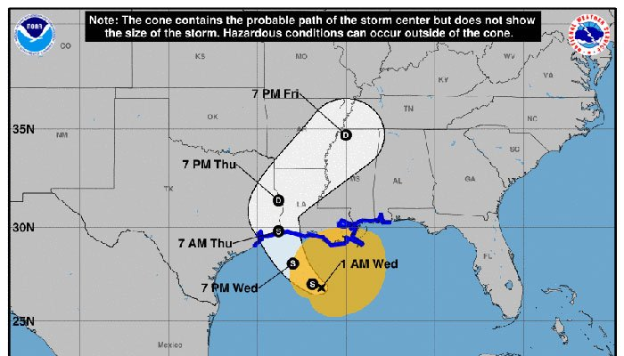 Tropical storm warning issued for Louisiana's Gulf Coast