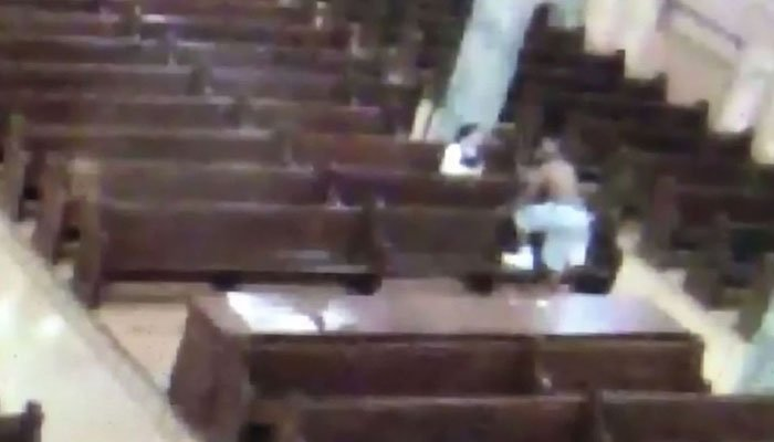Shirtless man threatens to kill nun, caught on camera