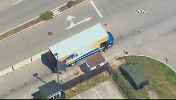 The bomb squad will inspect the truck stopped at the gate. (Source: WCVB/CNN)