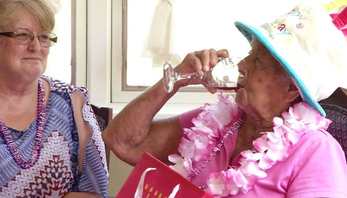100-year-old ME woman says wine keeps her going