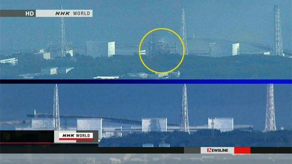 A side view of Japan's damaged Fukushima nuclear reactor. (Source: CNN)