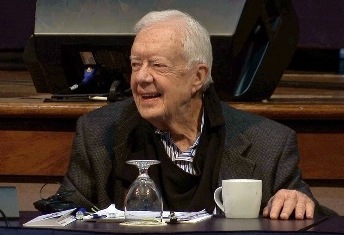 Former President Jimmy Carter, shown here at the annual Human Rights Defenders Forum in Atlanta on May 9, collapsed in Canada due to dehydration. (Source: Alex Sanz/AP)