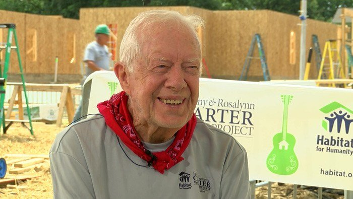 Former President Jimmy Carter speaks at a Habitat for Humanity build in Memphis, TN, in August 2016. (Source: WMC)