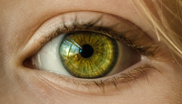A woman's eye that most likely does not have 27 contact lenses in it. (Source: Pixabay)