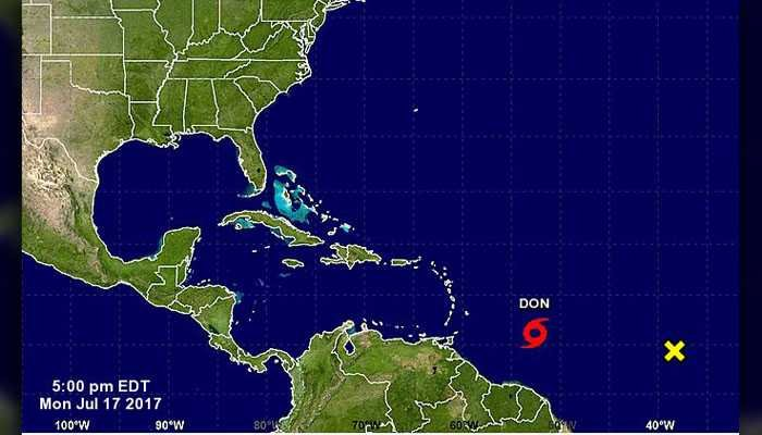 Tropical Storm Don formed in the Atlantic Ocean Monday evening. The storm is not expected to hit the U.S. Don is the fourth named storm in the Atlantic in the 2017 hurricane season. (Source: National Hurricane Center)