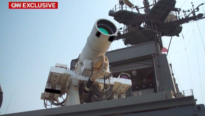 The LaWS, an acronym for laser weapons system, is deployed on board the USS Ponce amphibious transport ship, ready to be fired at hostile targets today and every day by Capt. Christopher Wells and his crew. (Source: CNN)