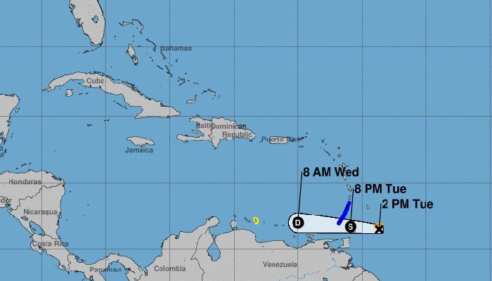 Tropical Storm Don formed Monday afternoon and is heading into the Caribbean Sea. (Source: NHC)