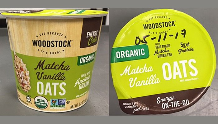 Concerns of possible listeria contamination have prompted a recall of Woodstock Organic Matcha Vanilla Oats.(Source: USFDA)