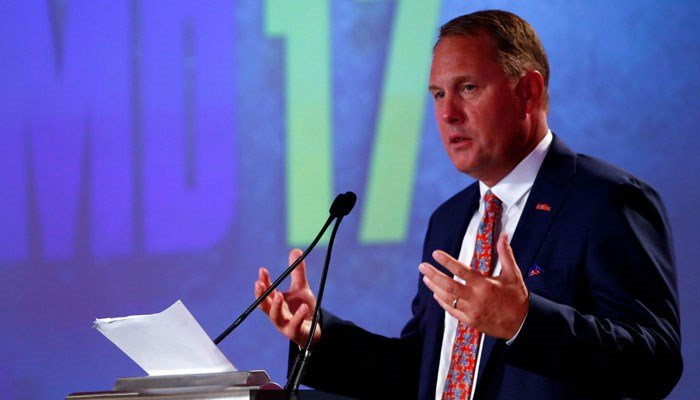 Mississippi NCAA college football coach Hugh Freeze speaks during the Southeastern Conference's annual media gathering, Thursday, July 13, 2017, in Hoover, AL.  (AP Photo/Butch Dill)